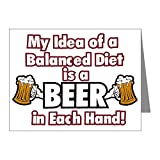 Note Cards (10 Pack) My Idea Balanced Diet Beer Each Hand