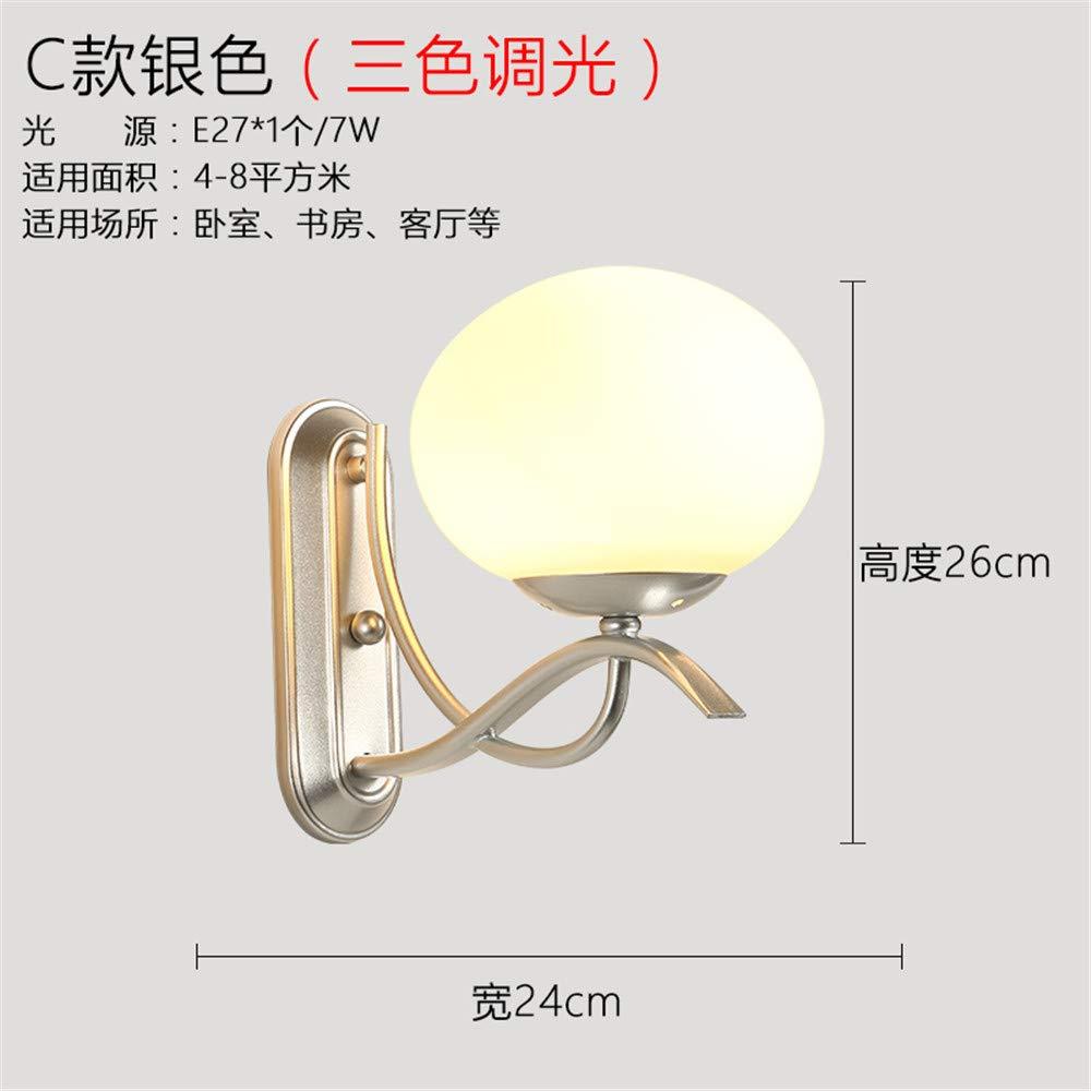 ACCEY Nachtwandlampe amerikanische Schlafzimmer schmiedeeiserne einzelne Stirnlampe Hotelzimmer Wandlampe Zimmer Gang Gang Licht, p
