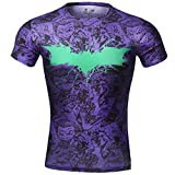 Red Plume Men's Sonic Compression Sports Fitness Shirt,superhero Bat T-shirt (XXL, Bat +clown)