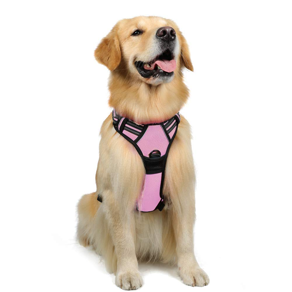 Rabbitgoo No-Pull Dog Harness Adjustable Pet Harness Outdoor Pet Vest 3M Reflective Oxford Material Vest for Dogs Easy Control for Large Dogs (Pink, L)