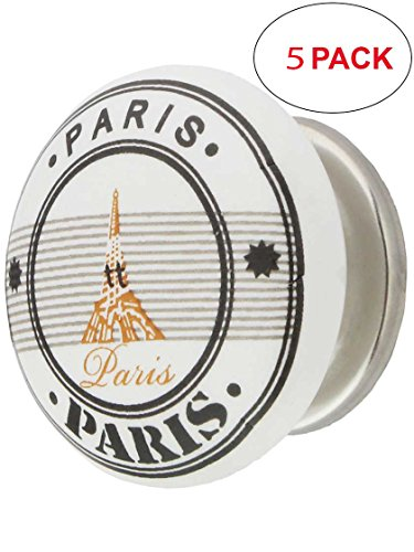 Pn Polished Nickel Porcelain - House of Antique Hardware R-08MG-367-PN-5 White Porcelain Paris Eiffel Tower Cabinet Knob with Brass Base in Polished Nickel (5 Pack)