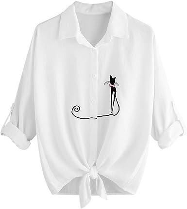Dacawin Camisa de Mujer Bordada con Nudos de Gato Casual de Manga Larga Blusa con Botones: Amazon.es: Alimentación y bebidas
