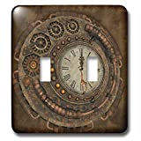 3dRose Heike Köhnen Design Steampunk - Steampunk, awesome clock with cute giraffe - Light Switch Covers - double toggle switch (lsp_254568_2)
