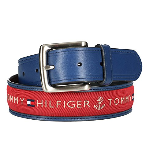 - Tommy Hilfiger Men's Leather Casual Belt with Fabric Inlay, 34