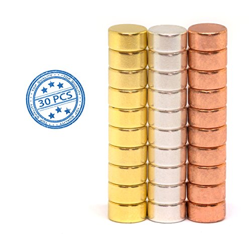 Round Colored Refrigerator Magnets | Office Magnets | Kitchen Magnets 30 Pack (Gold, Silver, Copper Plated) by TRE TECH