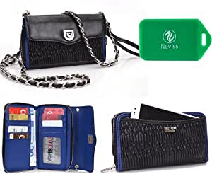 Micromax Viva A72*SplaSh series* Cross Body wallet w/ extrerior phone pocket in saphire blue PLUS Bonus Neviss Luggage Tag