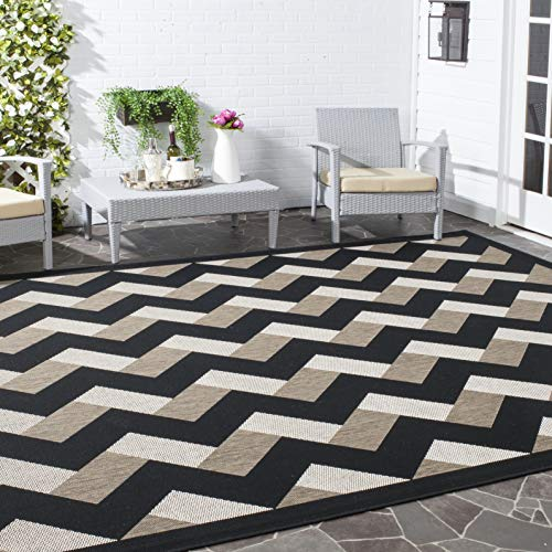 Image of Safavieh Courtyard Collection CY7430-081A17 Black and Brown Indoor/ Outdoor Area Rug (8' x 11')