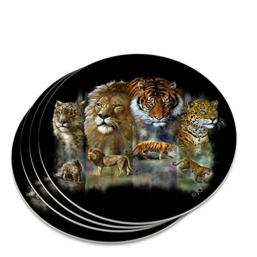 Set Lions Desk (Lion Tiger Snow Leopard Big Cats Novelty Coaster Set)