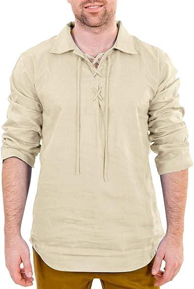 Camisas de manga larga para hombre, cuello redondo, casual ...