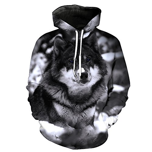 - One tree Fashion Gifts 3D Cute Dog Printing Long Sleeve Sweatshirt Sport Cool Hoodies Hooded XL