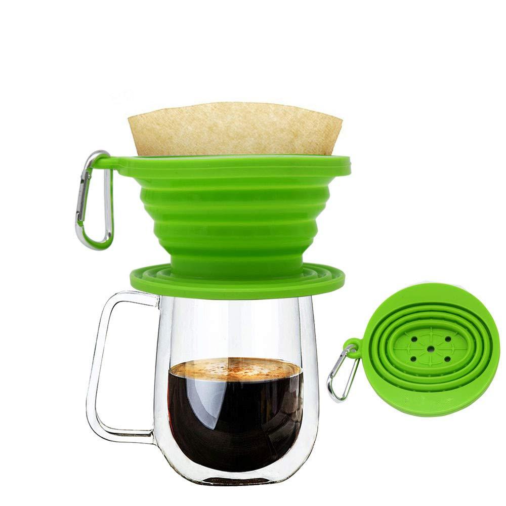 Delightful Premium, cono filtro per caffè in silicone, perfetto per esterni e da viaggio; con gancio, plastica, Blue, taglia unica Wolecok