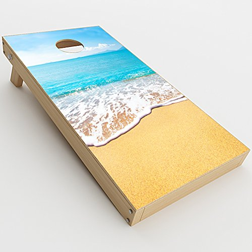 Tailgate Skin - Skin Decal Vinyl Wrap for Cornhole Outdoor Game Bag Toss (2 x pcs. skins only) / Bahamas Beach