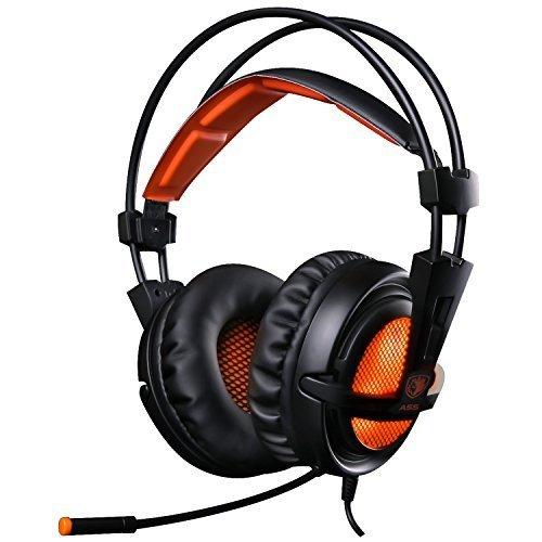 EasySMX [ Dernire 7.1 Stro Micro-Casque Gaming ] Casque  lcoute Ultra-lger 3.5mm Hi-Fi Headset avec LED idal pour les Amateurs de Jeu (NoirOrange)