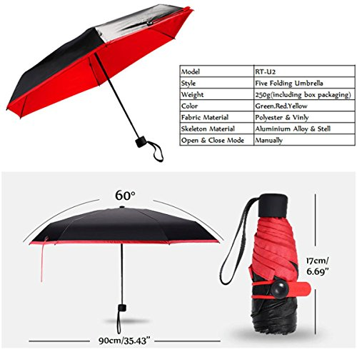 Super Light Mini Pocket Umbrella, CAMTOA 6.7inch Sun Protection Clear Travel Umbrella - Resin-Reinforced Windproof Frame - Slip-Proof Handle for Easy Carrying -