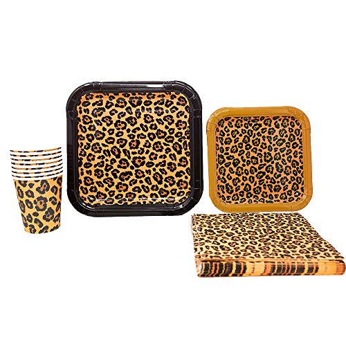 Leopard Print Party Supplies Pack (65+ Pieces for 16 Guests!), Leopard Party, Leopard Tableware ()