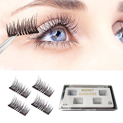 Magnetic Eyelashes, 2 Pairs Dual Magnet False Lashes With A Mini Scrubbing Brush