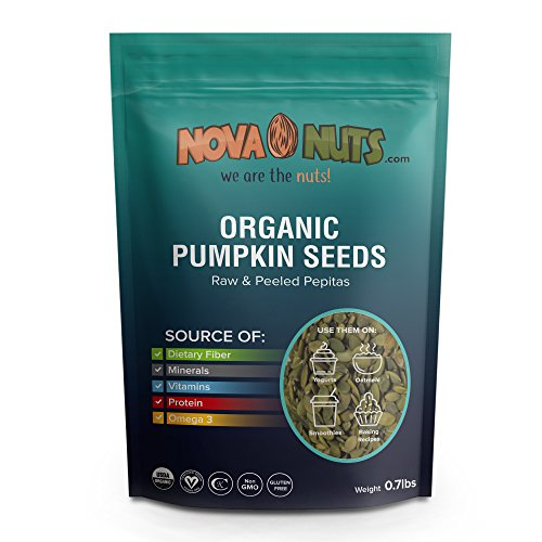 Organic Pumpkin Seeds By Nova Nuts - Natural Vitamins & Minerals from Raw Whole Foods (Pepitas 0.7 pounds) ()