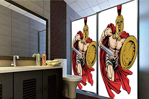 Ancient Warrior Sword - No Glue Static Cling Glass Sticker,Toga Party,Spartan Warrior with Sword and Shield Ancient Legendary Greek World Graphic,Peach Red Gold,39.37