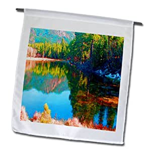 Jos Fauxtographee Realistic - A Very Colorful Pine Valley Lake with its reflection of Trees and Mountains - 18 x 27 inch Garden Flag (fl_61463_2)
