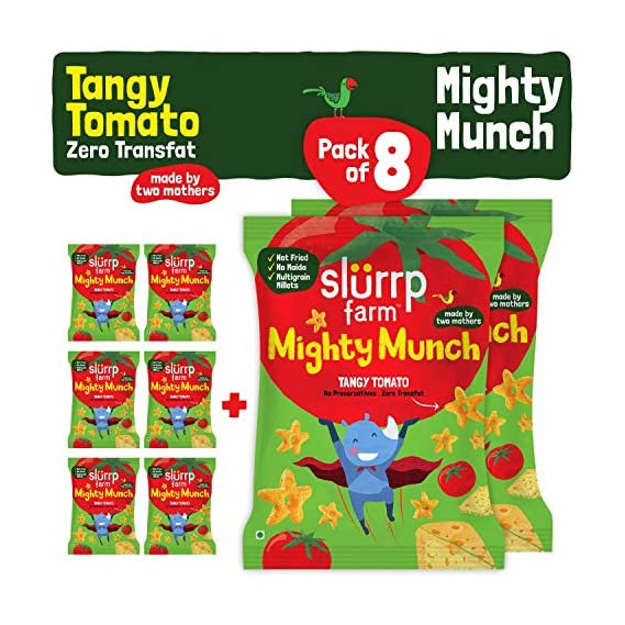 Slurrp Farm Tasty Mighty Munch, Tangy Tomato, Healthy Snack For Kids, 20g