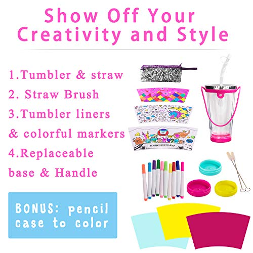 MACTING Tumbler Cups, Create & Designs Your Own Tumbler for Girls with Tumbler Stickers and Color, BPA Free Kids Tumbler with Lid & Straw Fun Tumbler Craft Kits and DIY Art for Children