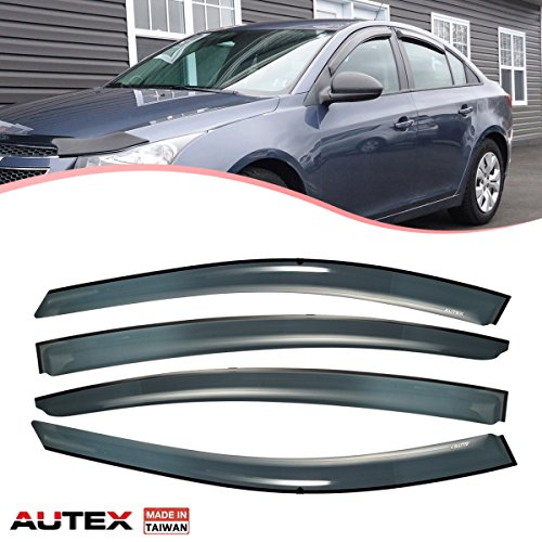 Wholesale AUTEX Made in Taiwan Tape-on Window Visor Fits for 2011 2012 2013 2014 2015 Chevy Cruze Side Wind Deflectors Sun Rain Guards for cheap