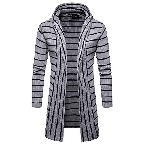 - GOVOW Men's Jackets Lightweight Casual Hooded Solid Knit Stripe Coat Cardigan Long Sleeve Tops(XL,Gray)
