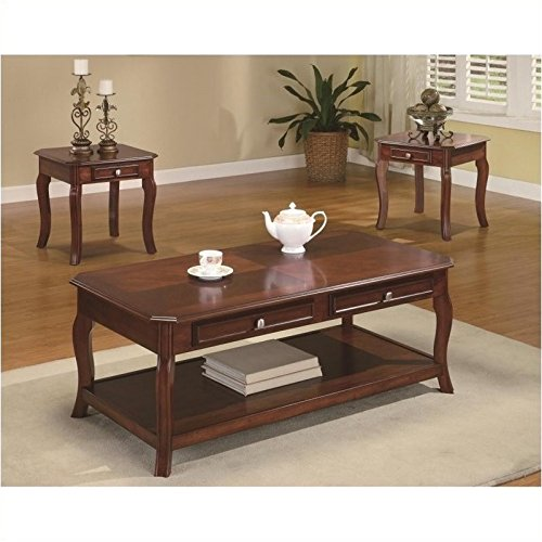 BOWERY HILL 3 Piece Occasional Table Set with Parquet Top in Cherry