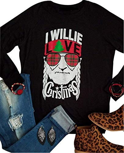 Love Crew Relaxed T-shirt (Women Christmas Funny T Shirt I Willie Love Christmas Letter Printed Nelson Graphic Long Sleeve O-Neck Tops Tee (L, Black))