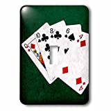 3dRose Alexis Photo-Art - Poker Hands - Poker Hands High Card, Queen to Four - Light Switch Covers - single toggle switch (lsp_270579_1)