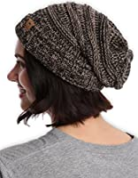 Slouchy Cable Knit Cuff Beanie - Chunky, Oversized Slouch Beanie Hats for Men & Women - Stay Warm & Stylish - Serious Beanies for Serious Style