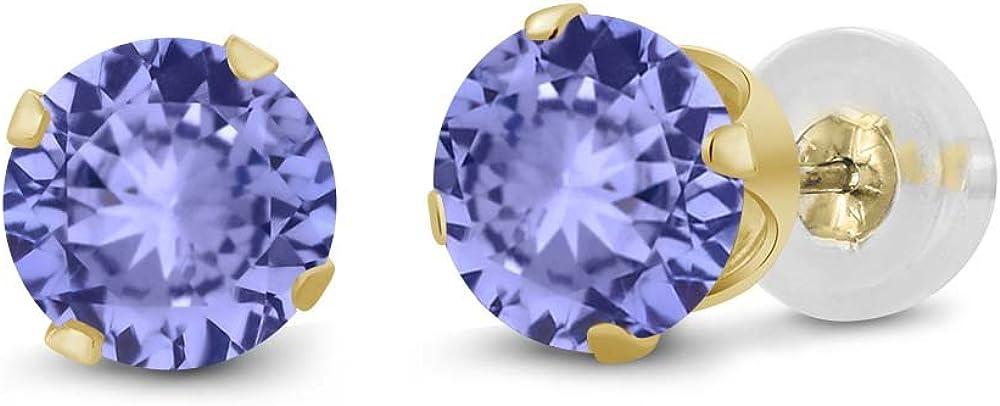 Gem Stone King 10K Yellow Gold Tanzanite Solid Stud Earrings For Women (1.00 Ct, Gemstone Birthstone, Round 5MM)