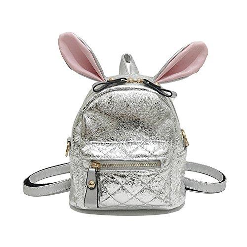 Meaeo Backpack Shoulder Bag Cute Little Bag Fashion Square Pink Silver