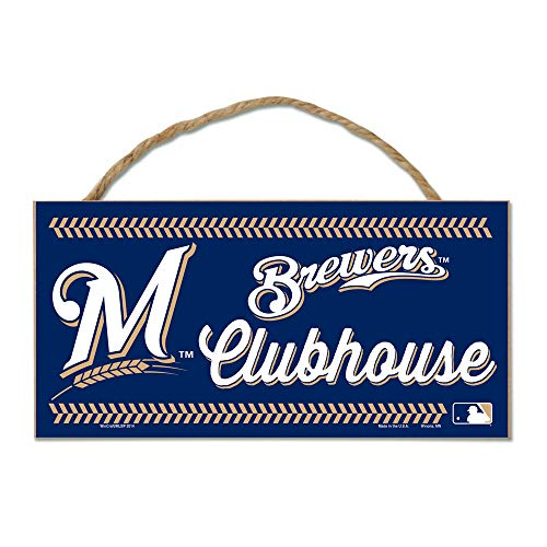 Wincraft MLB Milwaukee Brewers WCR18656014 Wood Sign with Rope, 5