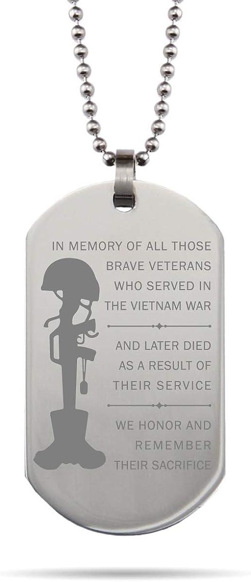 Veteran Gift Necklace For Veteran Gift For Veteran Veteran Necklace Black Engraved Dog Tag Necklace Badass Veteran Necklace