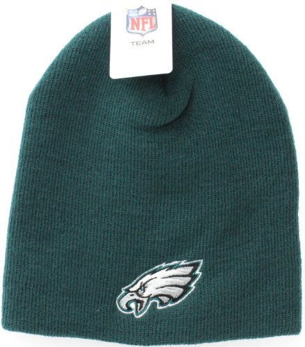 Hat Cuffless Cap Knit (Philadelphia Eagles Green Skull Cap - NFL Cuffless Beanie Toque Knit Hat)