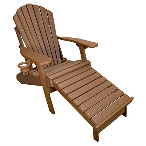 ECCB Outdoor Outer Banks Deluxe Oversized Poly Lumber Folding Adirondack Chair with Integrated Footrest (Antique Mahogany) ... ()