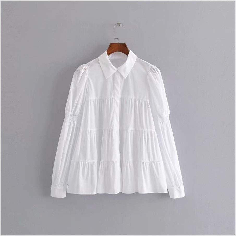 LANGPIAOEZU Hombro de Las Mujeres Arrugada Camisa Blanca ...