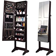 AOOU Jewelry Organizer Jewelry Cabinet,Full Screen Display View Larger Mirror, Full Length Mirror,Large Capacity Dressing Mirror Makeup Jewelry Armoire (Brown & Leg)