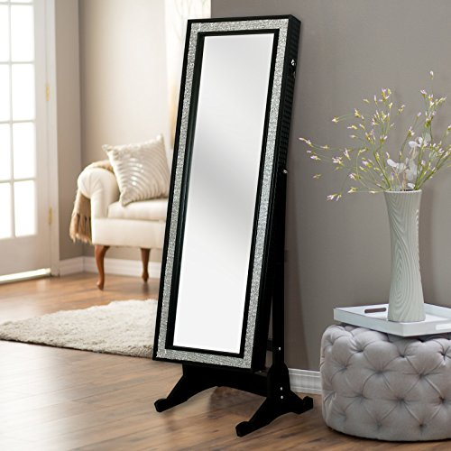 Iconic Home Glamour Contemporary Full Length Cheval Mirror Jewelry Armoire