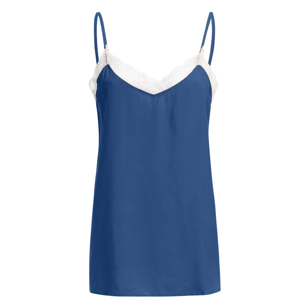 Lawzl Tops,Women Summer Lace Patchwork Tank Tops Casual Sleeveless Tops Vest Blouse