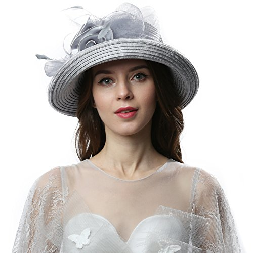 Janey&Rubbins Women Kentucky Derby Church Wedding Fascinators Cloche Bucket Bowler Hat (Silver) ()