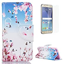 CasesHome iPhone SE/iPhone 5/5S Wallet Case + Free Screen Protector Magnetic Closure Soft Rubber Bumper PU Leather Case with Colourful Pattern Design [Flower Blossom Butterfly]