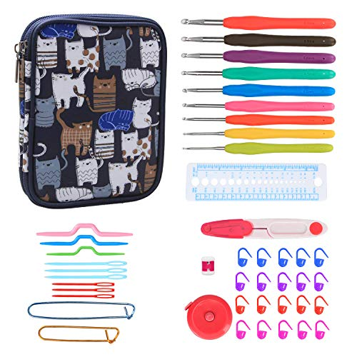 Teamoy Ergonomic Crochet Hooks Set Knitting Needle Kit Zipper Organizer Case With 9pcs 2mm to 6mm Soft Grip Crochets and Complete Accessories Small Volume and Convenient to Carry Cats Blue
