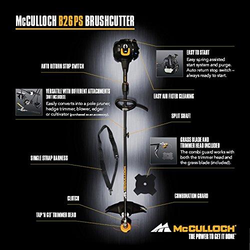 McCulloch Desbrozadora B26 PS, Negro, Metálico, Naranja, Amarillo