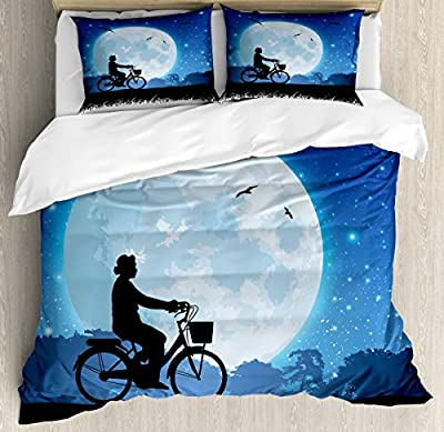 Duvet Cover SetPerson Rides Bicycle Night Duvet Cover SetDecorative 3 Piece Bedding Set with 2 Pillow Shams