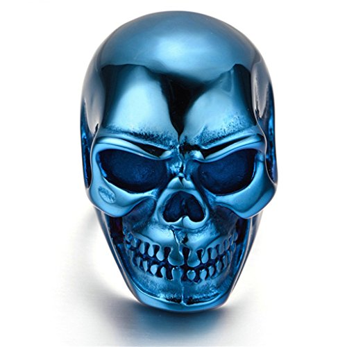 Stainless Steel Ring for Men, Dead Head Ring Gothic Blue 3020MM Size 12 - From Glasses Costco