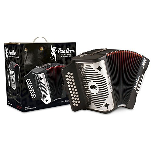 Hohner Panther G, C, F Key Combination Diatonic Accordion (Black) BUNDLE with Gig Bag
