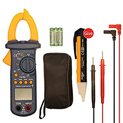 Multimeters, Digital Clamp Meter, Auto Range AC/DC Multimeter Test 6000 Counts, TRUE RMS NCV Ohm Diode Resistance Capacitance Meters Temperature Measurements Test Tester, Clamp Multimeter