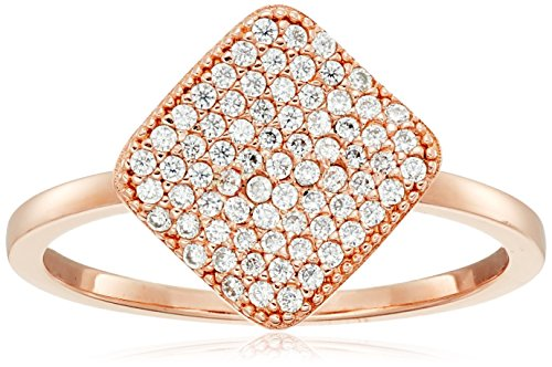 Crislu Simply Pave 18K Rose Gold Plated Sterling Silver Cubic Zirconia Square Ring, Size (Crislu Pave Ring)
